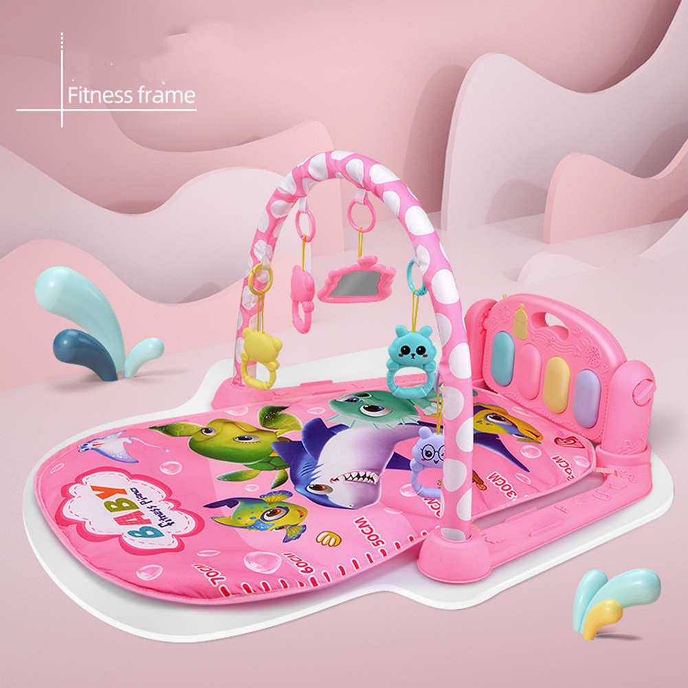 Children  Pedal  Piano  Toys Piano Fitness Rack Puzzle Music Game Blanket Multifunctional Toy Ocean World-Pink