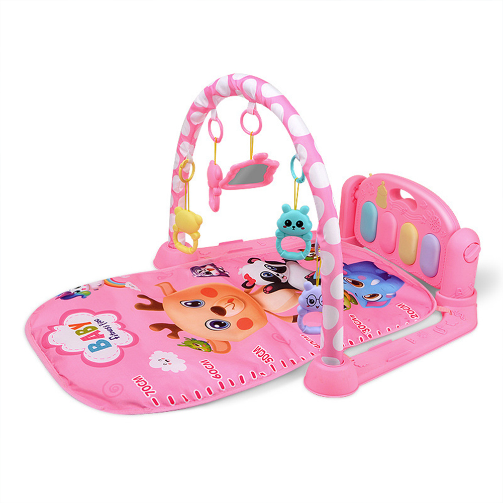 Children  Pedal  Piano  Toys Piano Fitness Rack Puzzle Music Game Blanket Multifunctional Toy Animal World-Pink