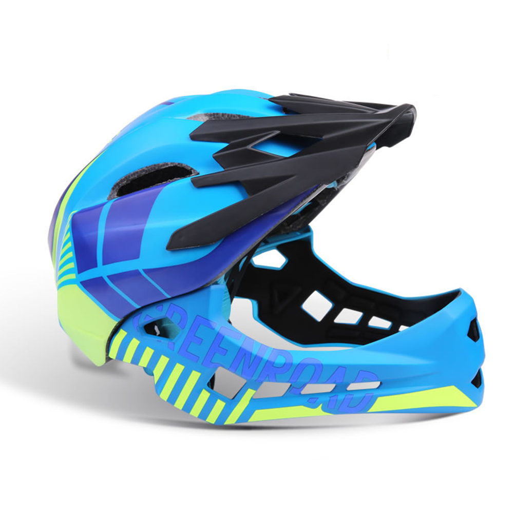 Roller Skating Helmet Children Bicycle Roler Adjustable Riding Safe Helmet Full face helmet light blue_S