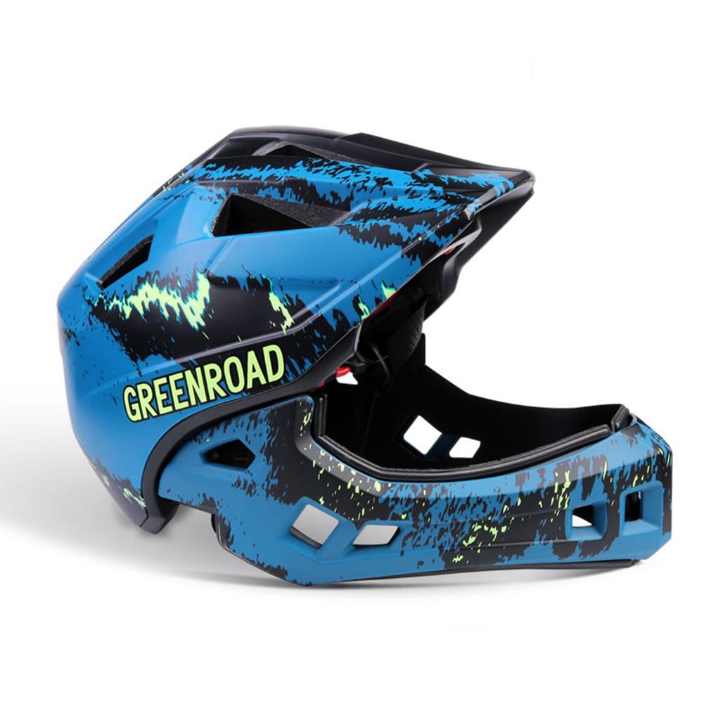 Roller Skating Helmet Children Bicycle Roler Adjustable Riding Safe Helmet Full face helmet blue color_S