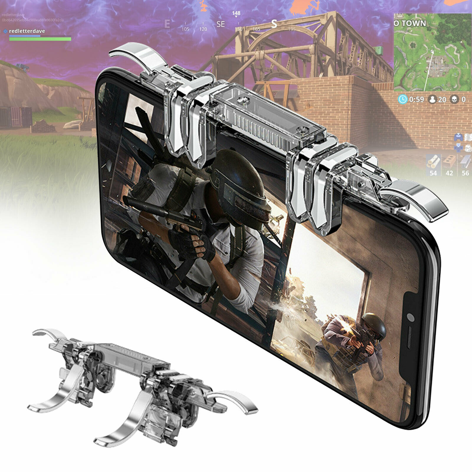 6 Finger Controller Trigger Game Fire Button Handle Gamepad for PUBG iOS Android As shown