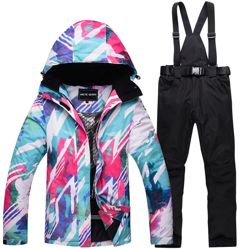 Women Padded Waterproof And Windproof Warm Ski Suit Set Two-piece Jacket Top+ Pants Top + black pants_M