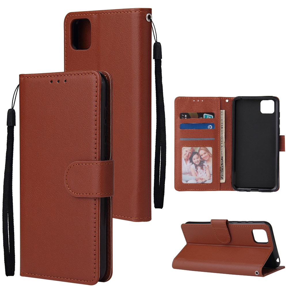 For HUAWEI PSmart 2020/Y5P/Y6P PU Leather Mobile Phone Cover with 3 Cards Slots Phone Frame brown
