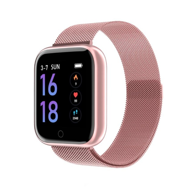 P70 Smart Watch Blood Pressure Heart Rate Monitor IP68 Fitness Bracelet Watch Women Men Smartwatch  Pink