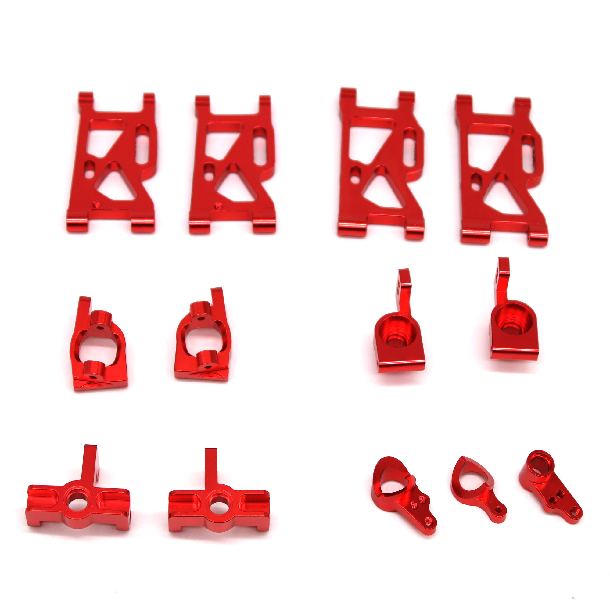 13Pcs/set Metal Front Rear Wheel Seat Base C Swing Arm Steering Clutch Component for WLtoys 144001 1/14 RC Car Upgrade Spare Parts red_13PCS