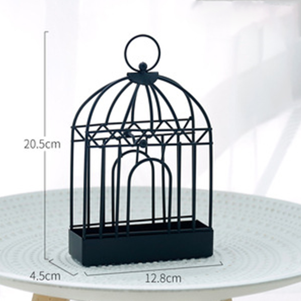 Birdcage Shape Mosquito-repellent Incense  Holder With Handle Incense Container Decorative Ornaments Black