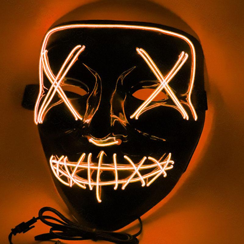 Led Mask for Halloween EL Light KTV Dance Party Scary Mask Orange