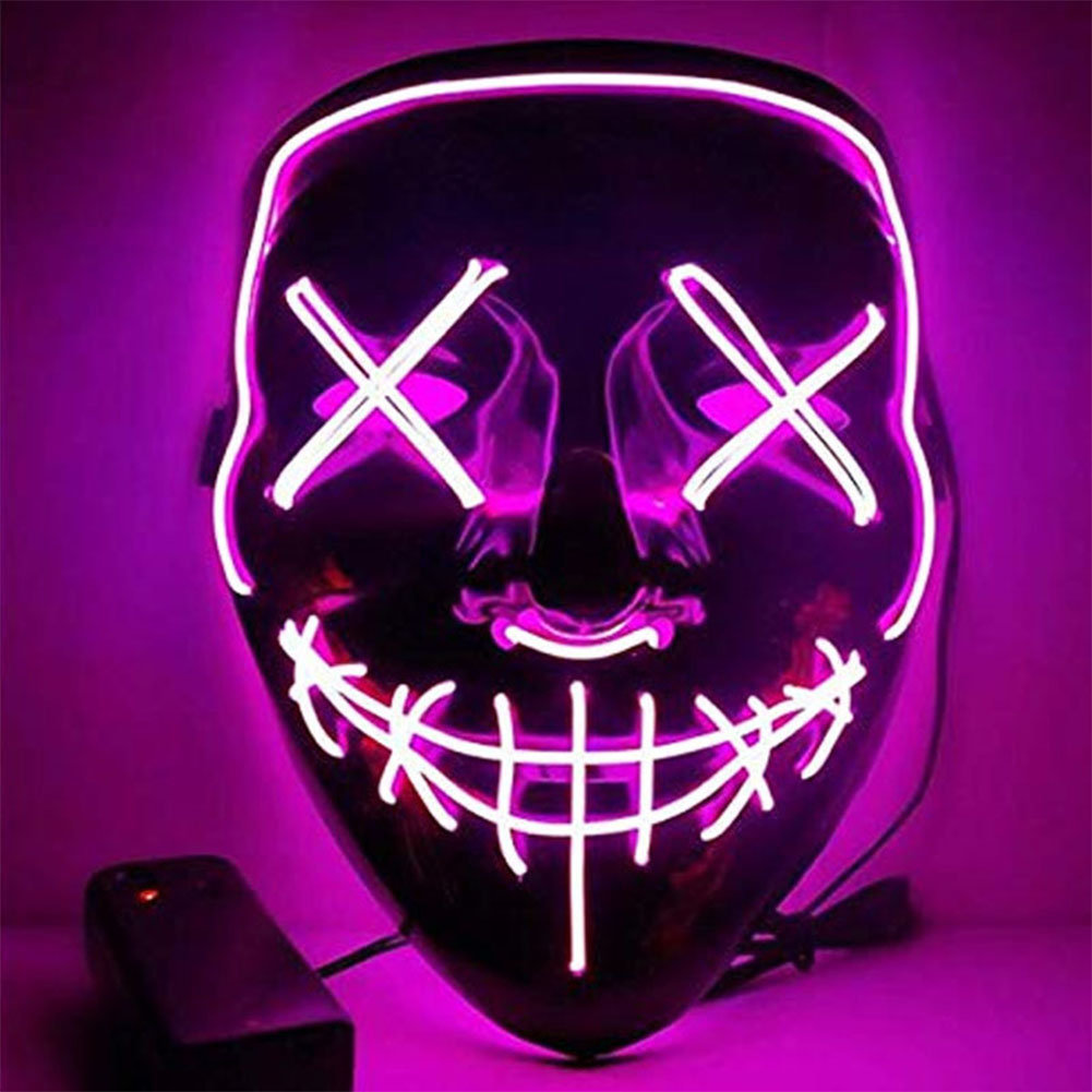 Led Mask for Halloween EL Light KTV Dance Party Scary Mask Pink