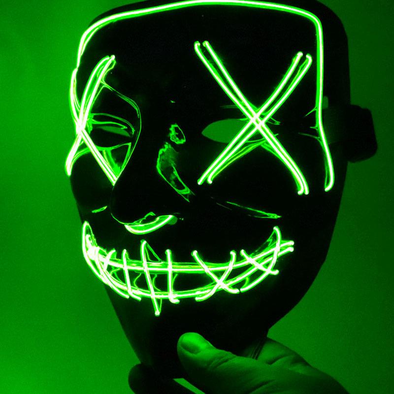 Led Mask for Halloween EL Light KTV Dance Party Scary Mask Fluorescent green