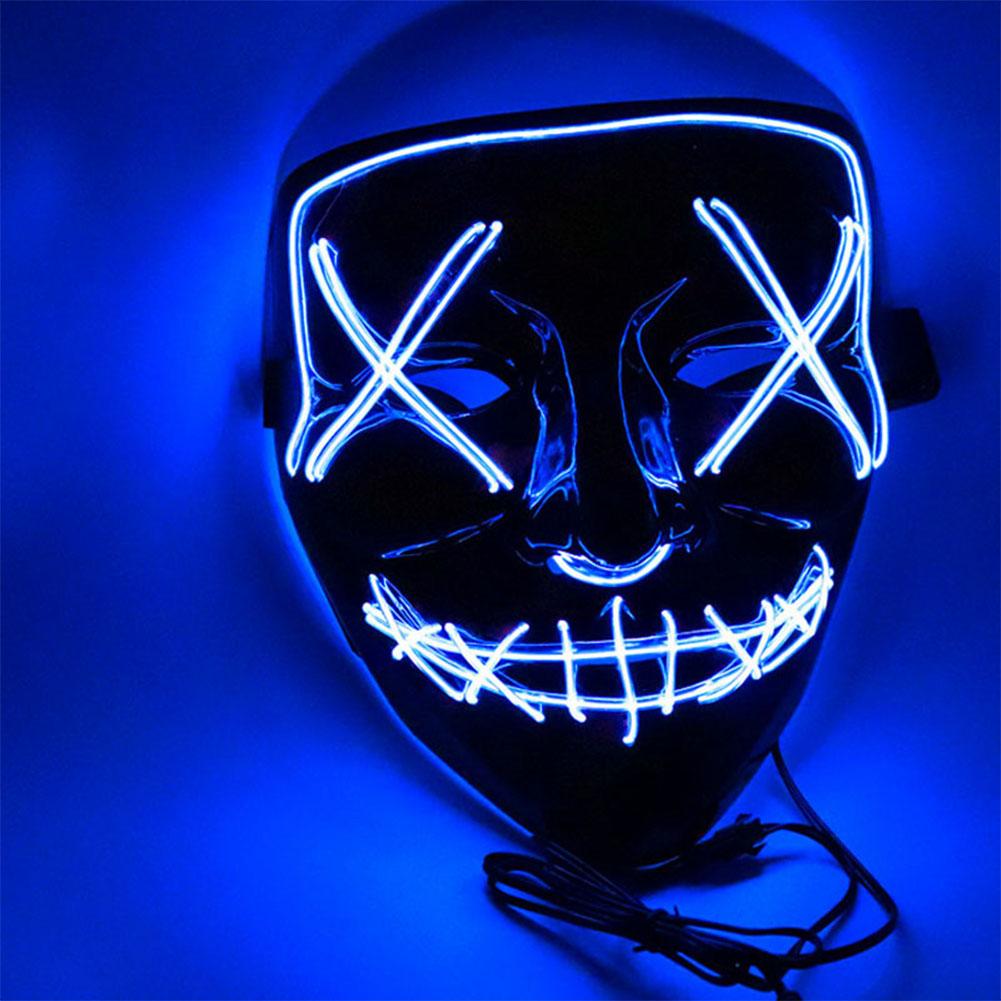 Led Mask for Halloween EL Light KTV Dance Party Scary Mask blue