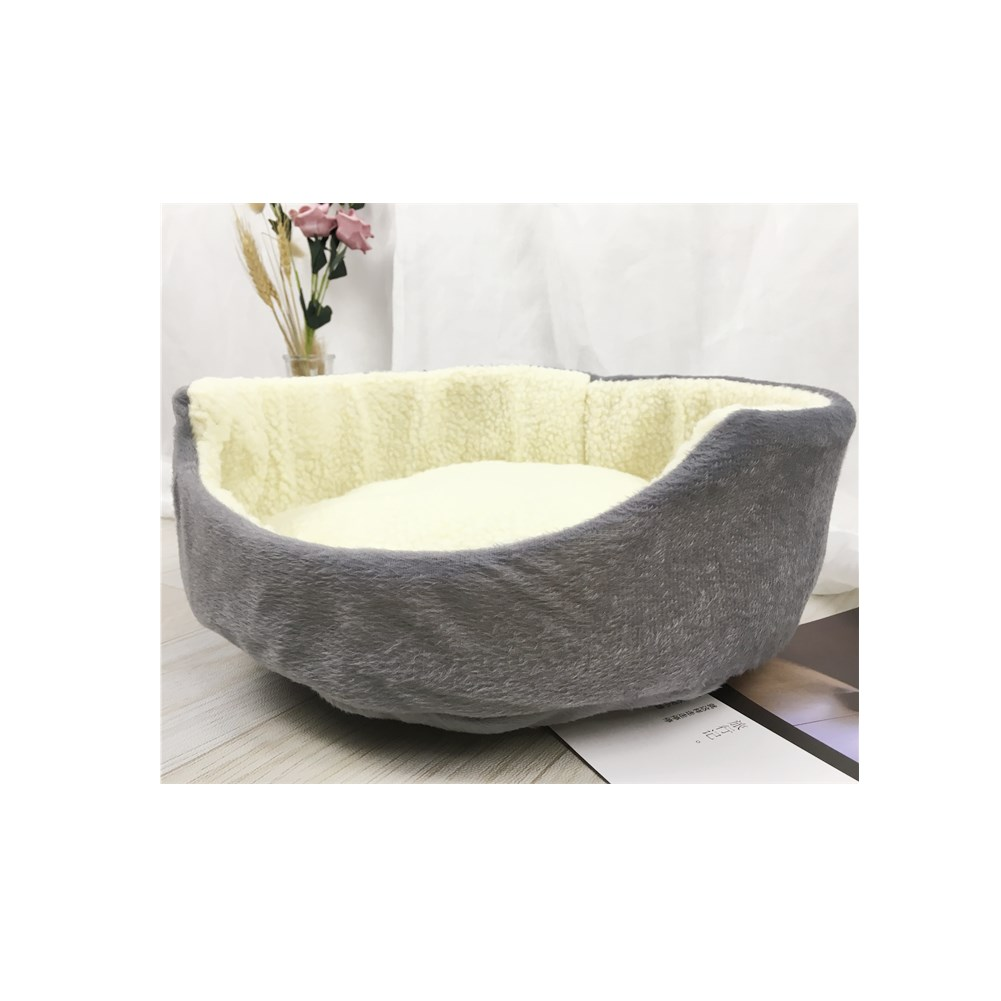 Cute Soft Pet Dog Cat Bed Warm Round Kennel Pet Mat Breathable Fade-Proof Suitable for Four Seasons gray
