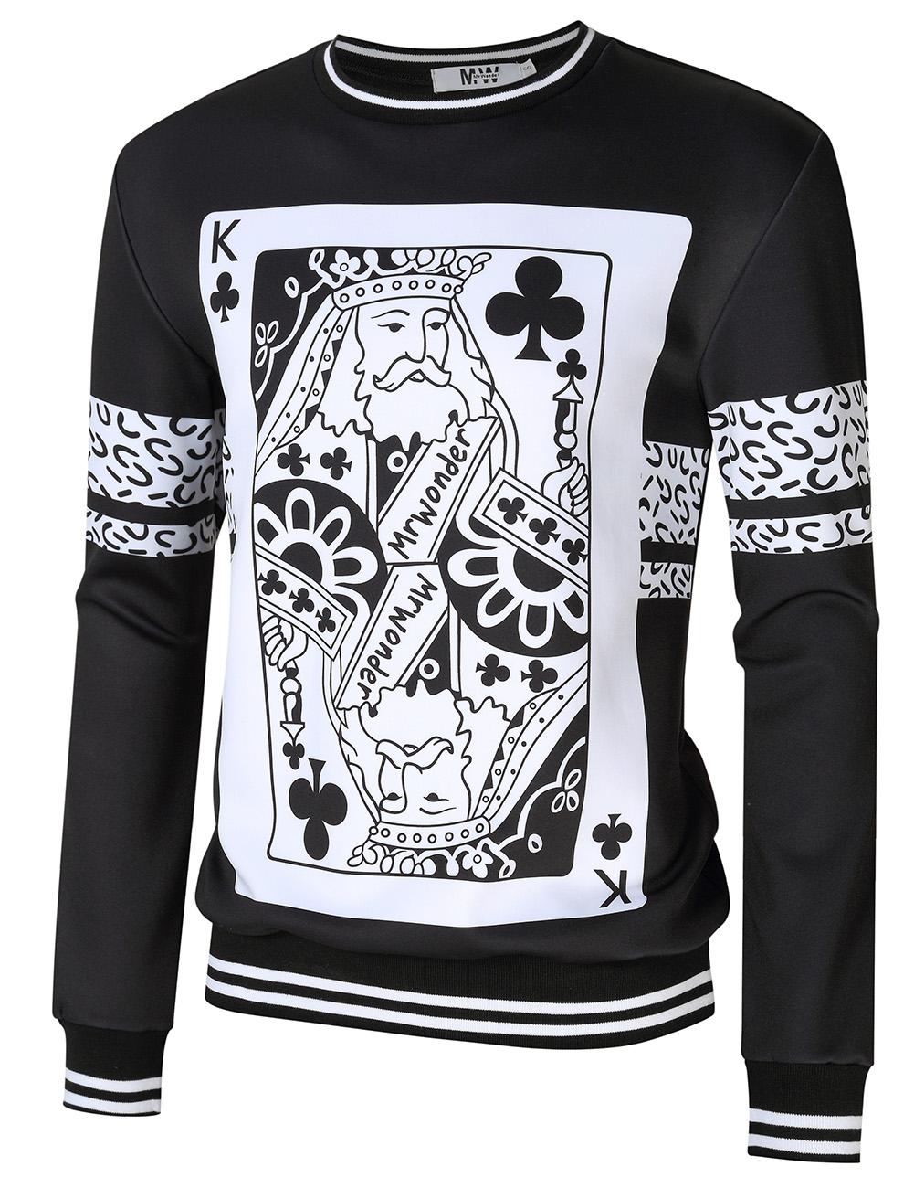MrWonder Men's Casual 3D Poker Print Crewneck Long Sleeve Pullover Sweatshirt