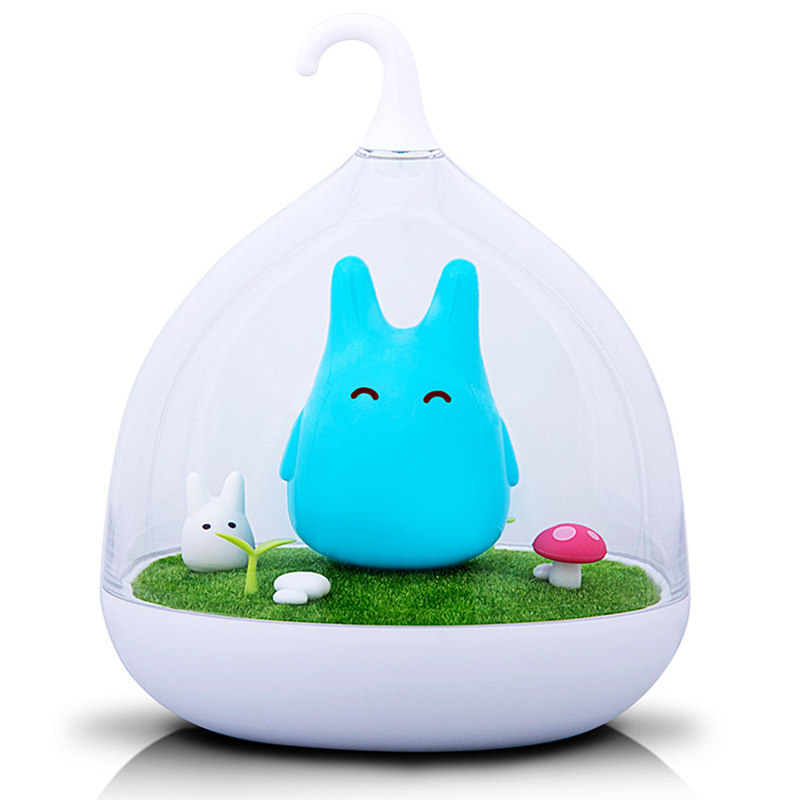 [EU Direct] USB Rechargeable Touch Sensor LED Night Light Portable Dimmable Totoro Night Lamp for Baby Kid Children Blue