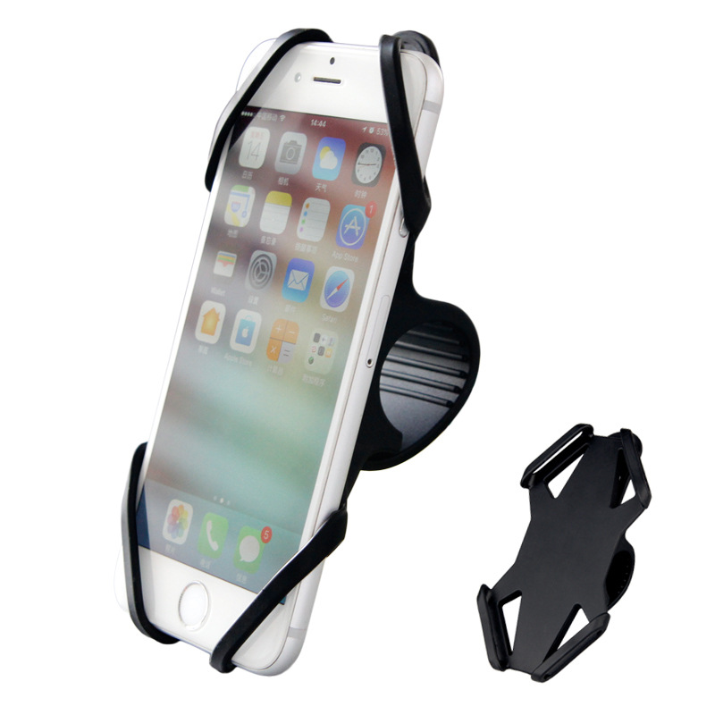 Bicycle Silicone Mobile Phone Support Mountain Bike Navigation Shockproof Phone Holder Stand Bike GPS Phone Stand Mount Bracket black