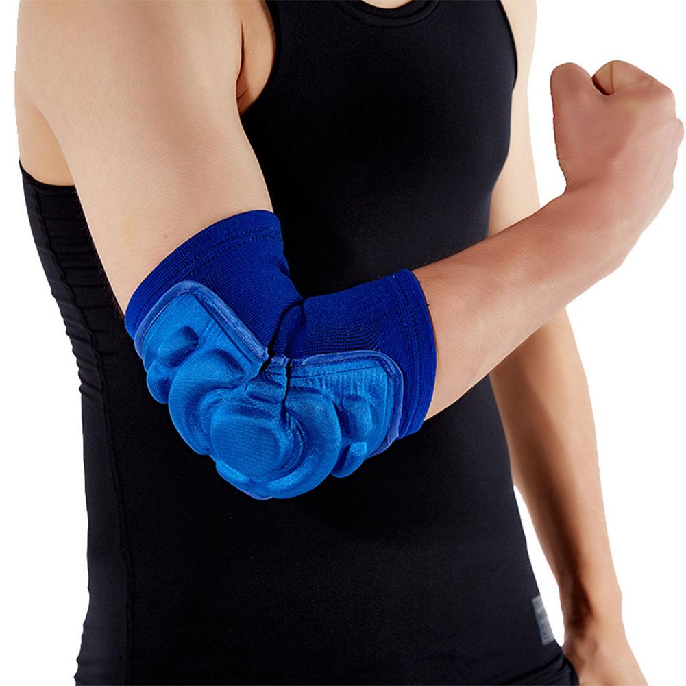 Sport Sponge Elbow Guard Men Summer Thicken Crashproof Basketball Footable Skidding Dancing Warm Joint Protector blue_L