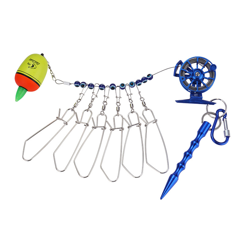 Fishing Lock Buckle With Reel Stainless Steel Lanyard Live Fish Lock Belt Fishing Tackle Stringer Fishing Floats Reel Blue