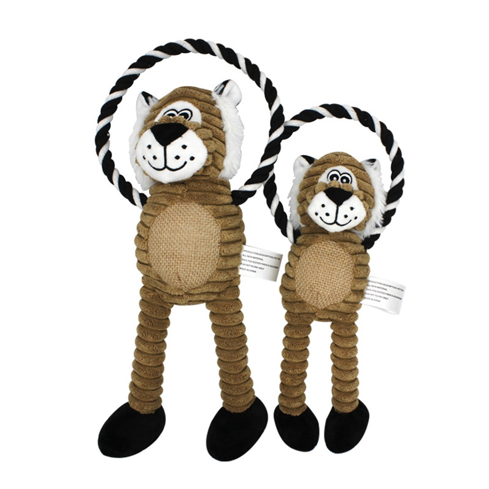 Cotton Rope Chew Squeaky Toy For Pet Dog Puppy Cartoon Doll Bite Molar Toy lion