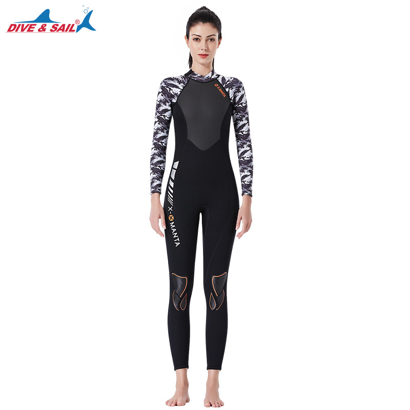 3mm Couples Wetsuit Warm Neoprene Scuba Diving Spearfishing Surfing Wetsuit Female black/white_L
