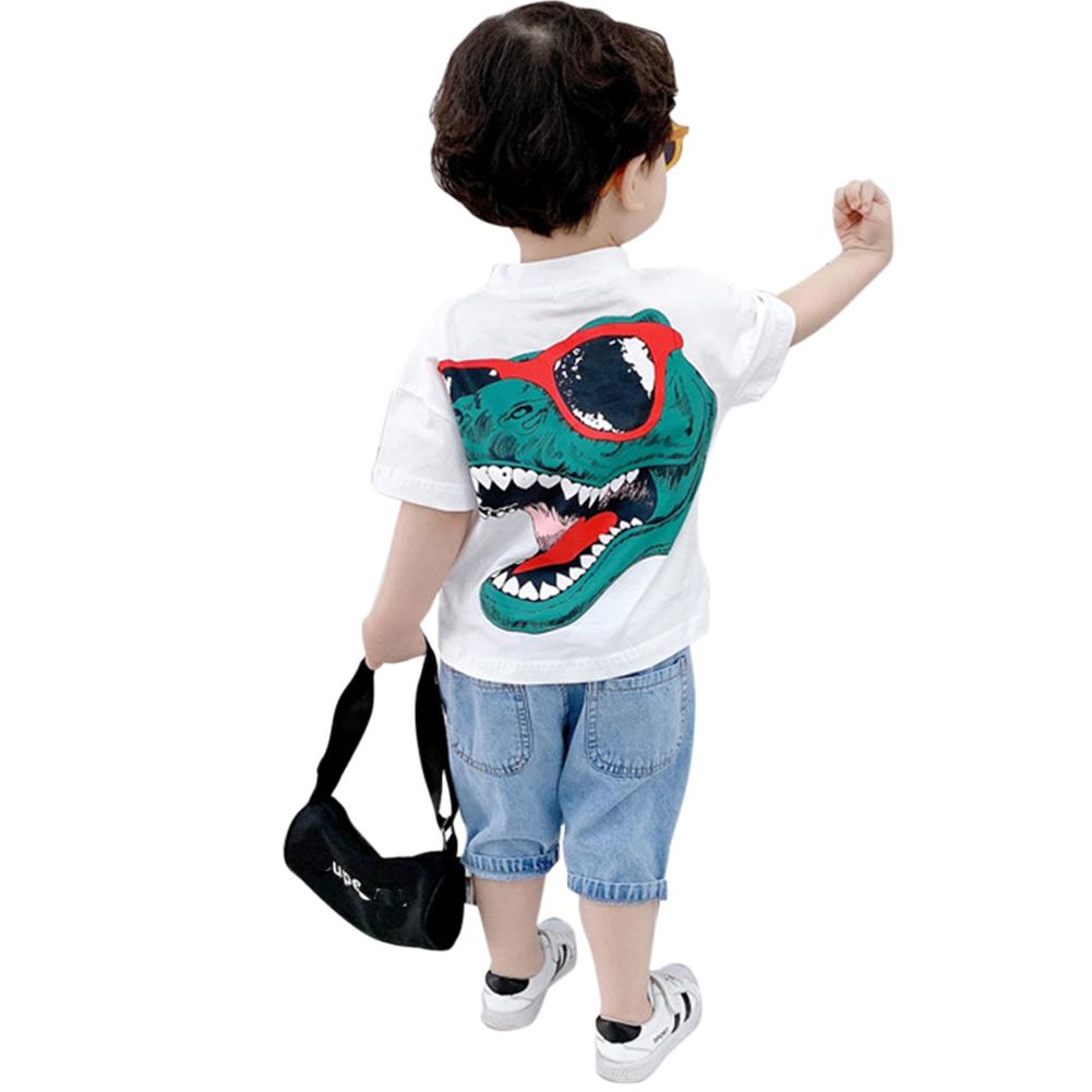 Kids Boys Girls Fashion Cartoon 3D Dinosaur Printing Short Sleeve T-shirt White dinosaur _90cm