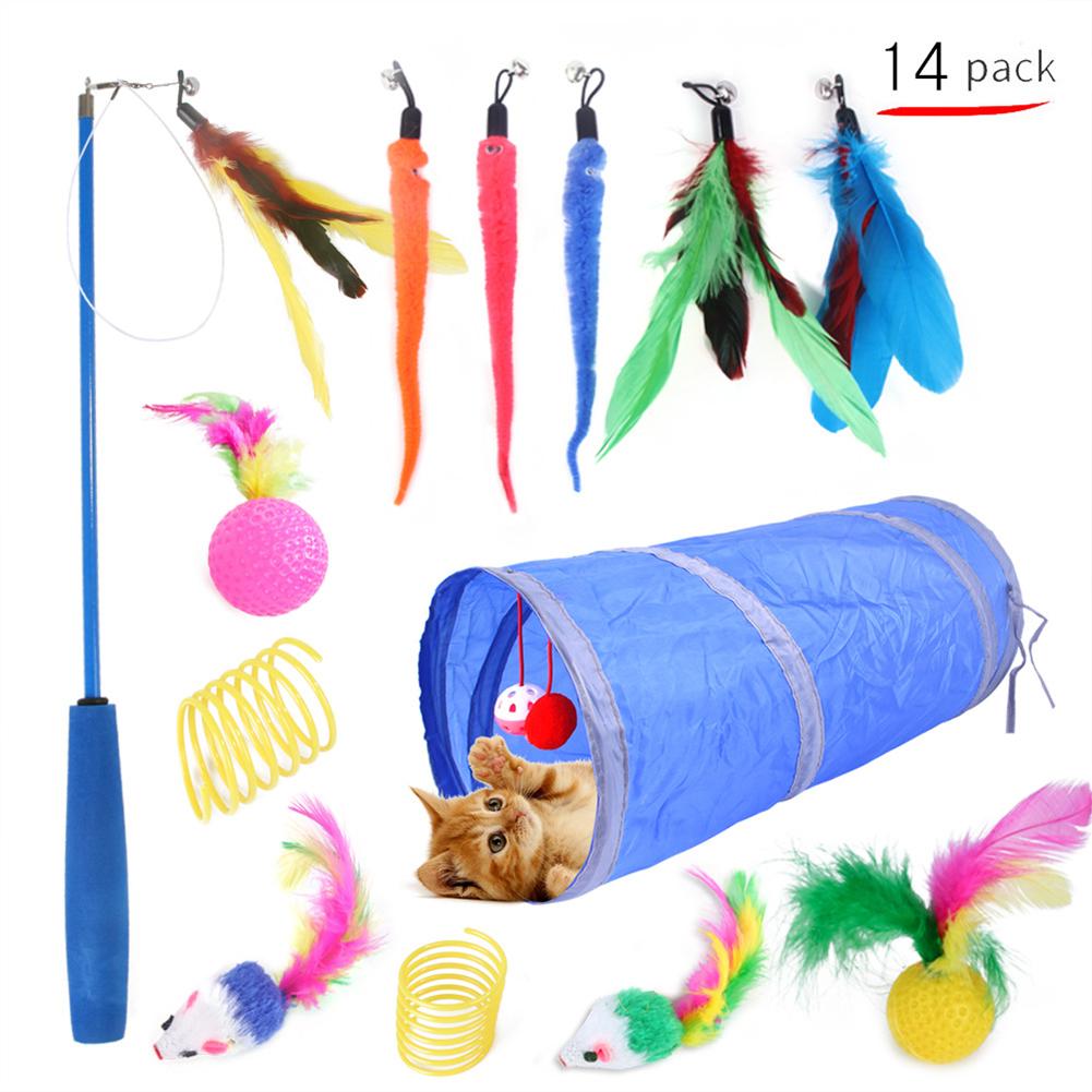 14Pcs/Set Pet Teaser Rod Feather Tunnel Fishing Rod Toy Set for Cat 14-piece set