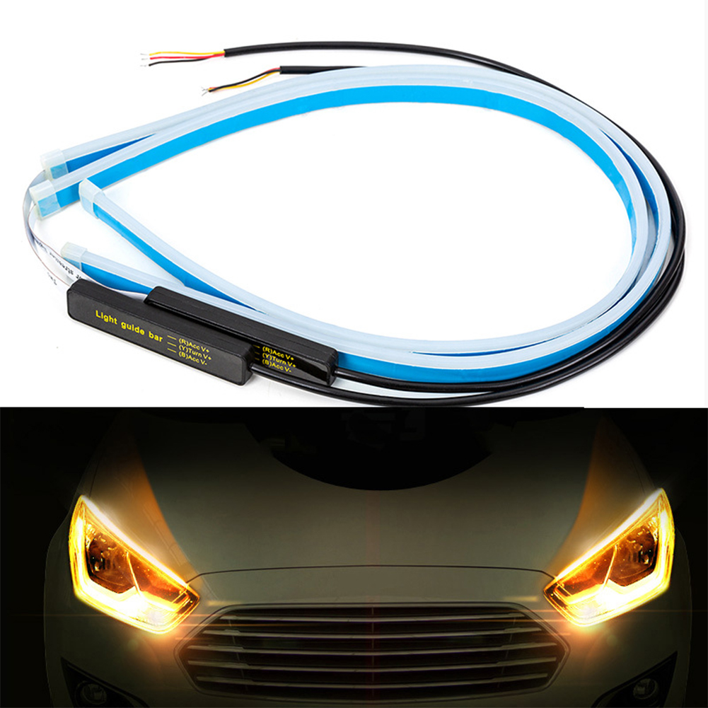 1 pair Ultrafine Cars LED Daytime Running Lights White Turn Signal Yellow Guide Strip for Headlight 30CM ice blue yellow