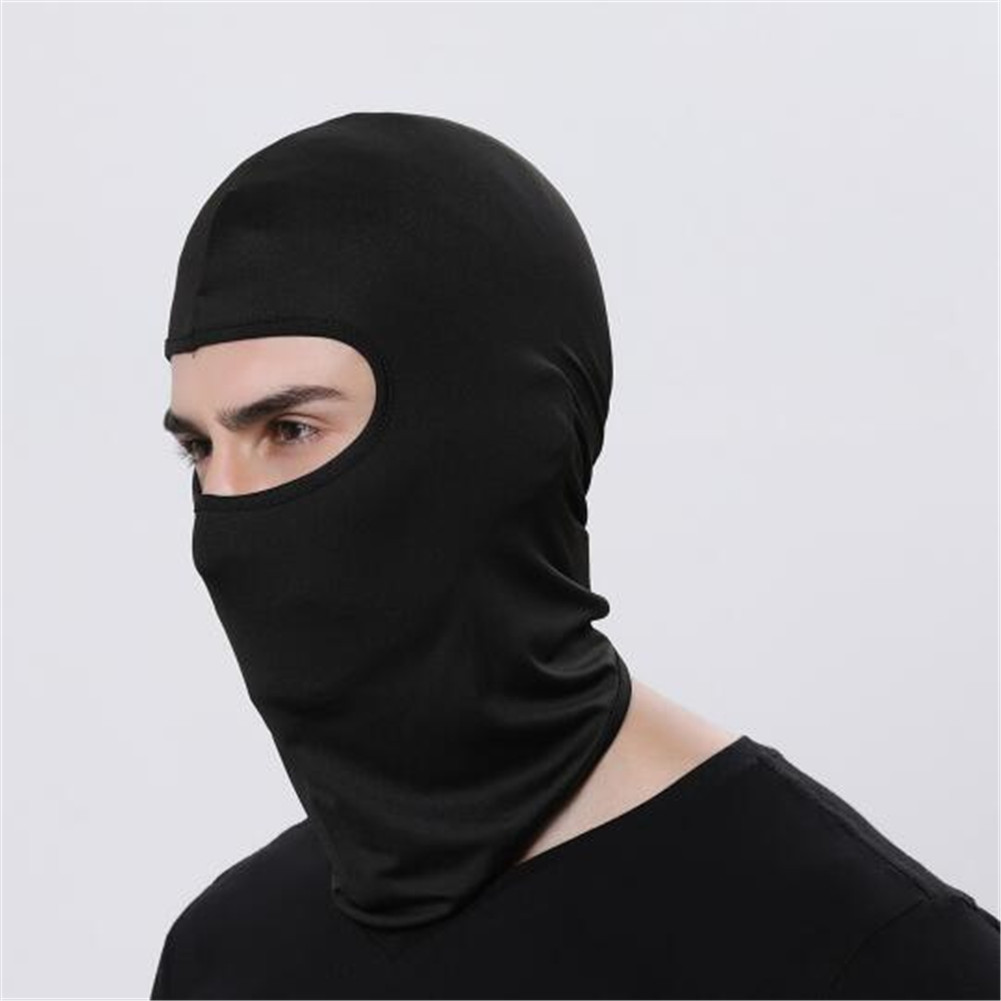 Outdoor Ski Motorcycle Cycling Balaclava Full Face Mask Neck Cover Ultra Thin black_adjustable