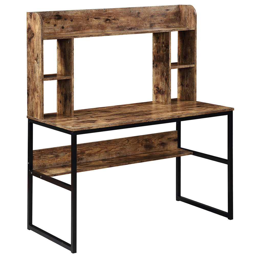 [US Direct] 47 Inch Rustic Computer  Desk With Hutch Home Office Desk Modern Writing Table With Storage Shelves Brown