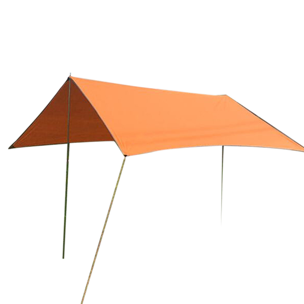 Portable Camping Tent Tarp Awning Sun Shade Rain Shelter Mat Beach Picnic Pad  Complete tent with pole_3-4 people orange