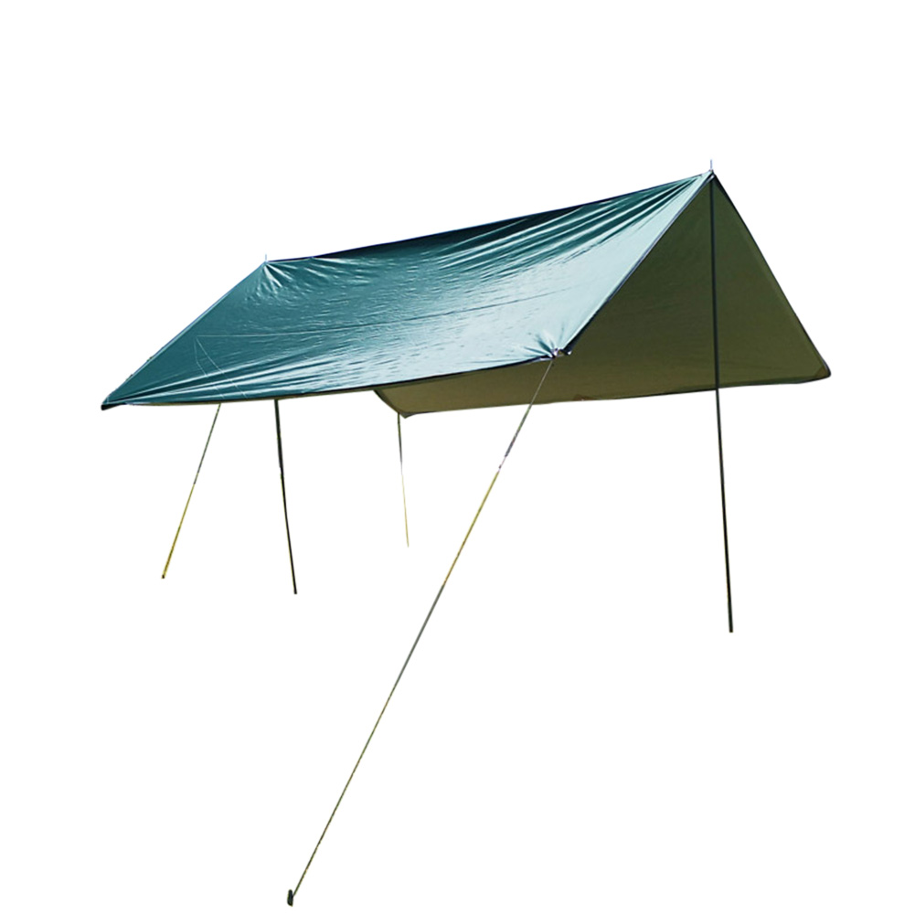 Portable Camping Tent Tarp Awning Sun Shade Rain Shelter Mat Beach Picnic Pad  Complete tent with pole_3-4 troops green