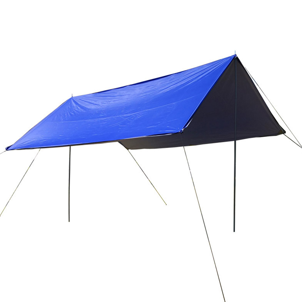 Portable Camping Tent Tarp Awning Sun Shade Rain Shelter Mat Beach Picnic Pad  Complete tent with pole_3-4 people royal blue