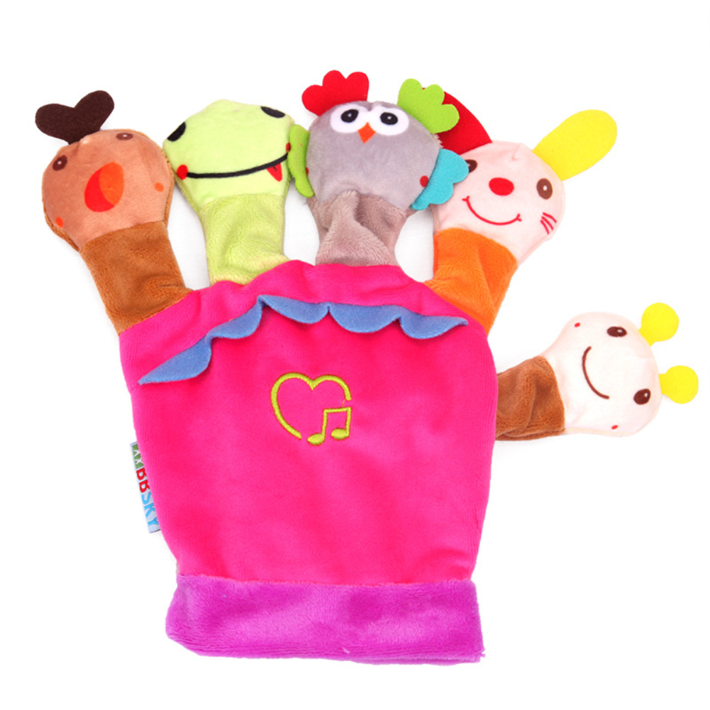 Cartoon Animal Shaped Hand Puppet Glove Toy with Music Box for Parent Child Tell Stories Pink_20 * 20cm