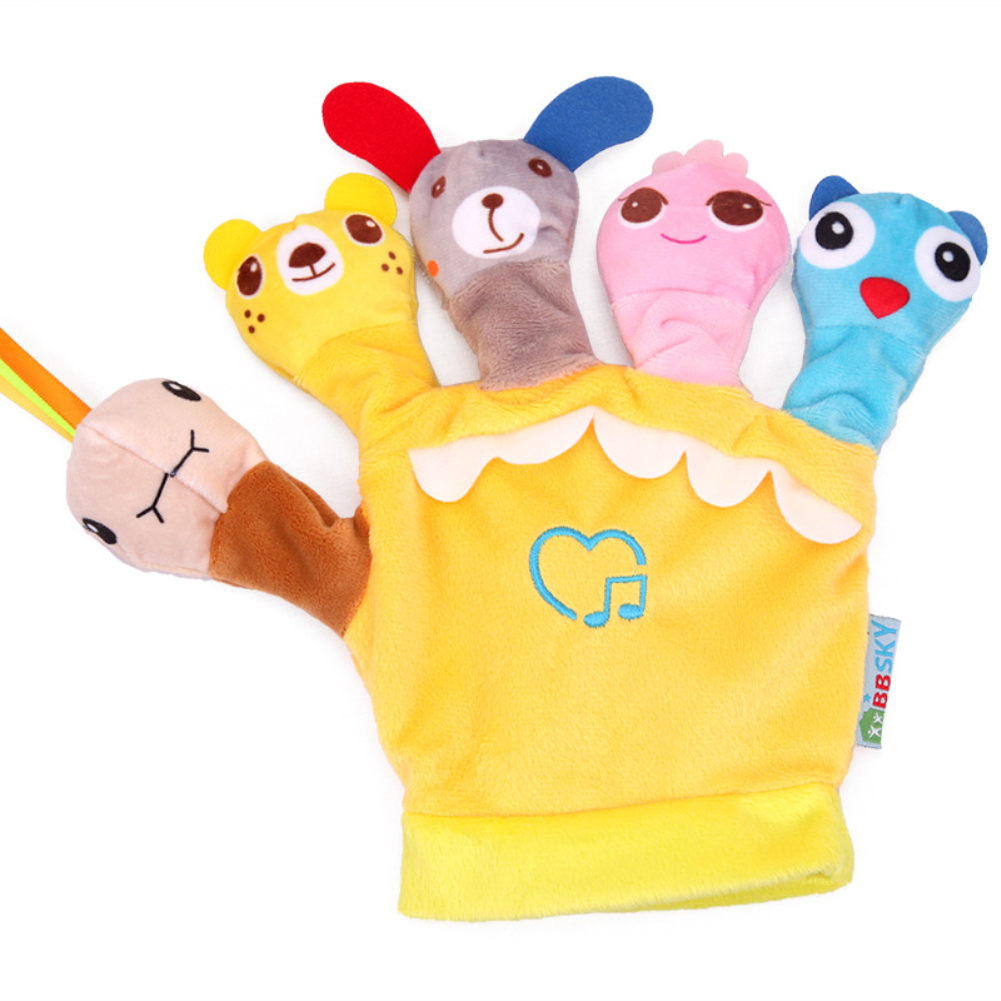 Cartoon Animal Shaped Hand Puppet Glove Toy with Music Box for Parent Child Tell Stories yellow_20 * 20cm