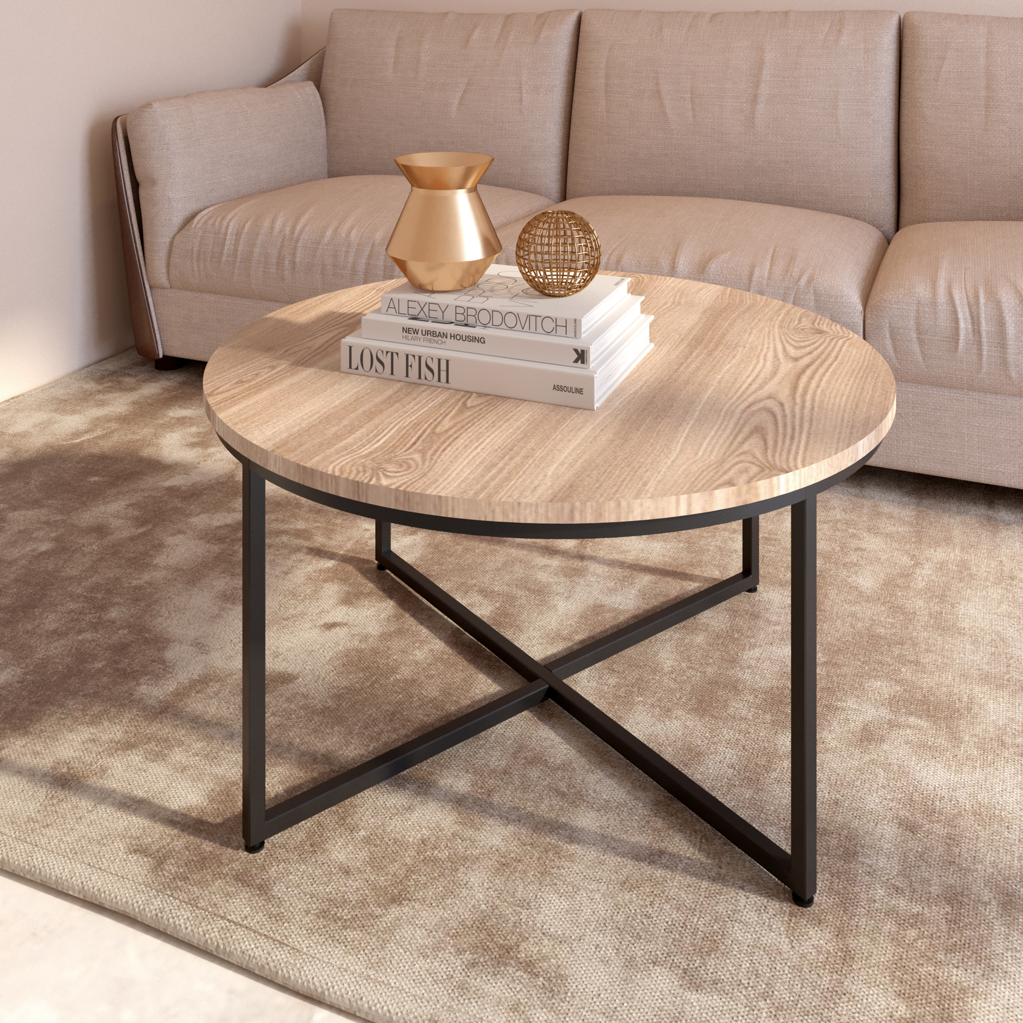 [US Direct] Modern Round Metal Coffee Table