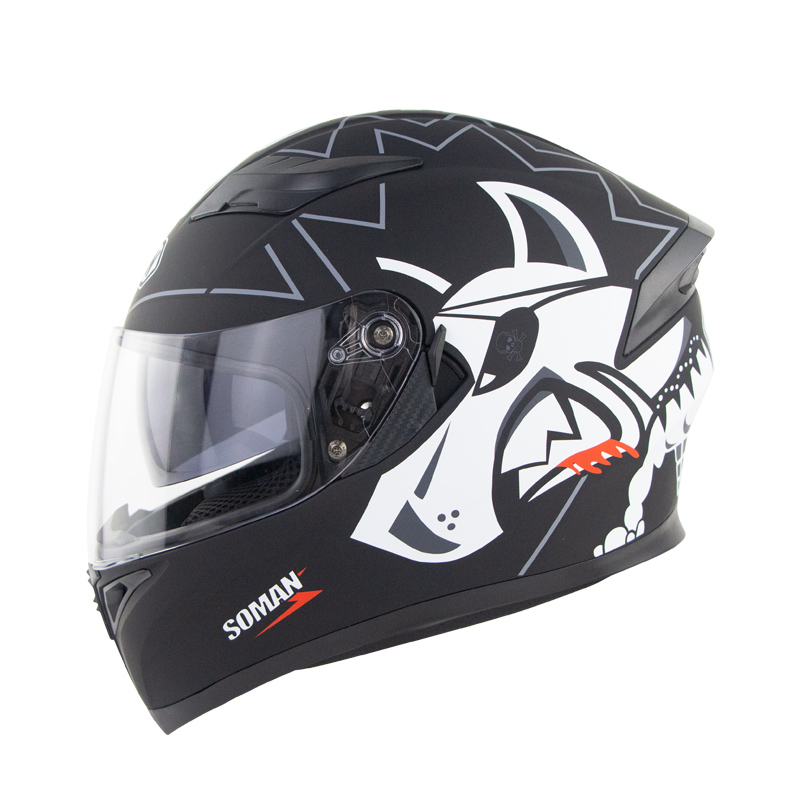 Full Face Motorcycle Helmet Sun Visor Dual Lens Moto Helmet Black gray one-eyed wolf_XXL