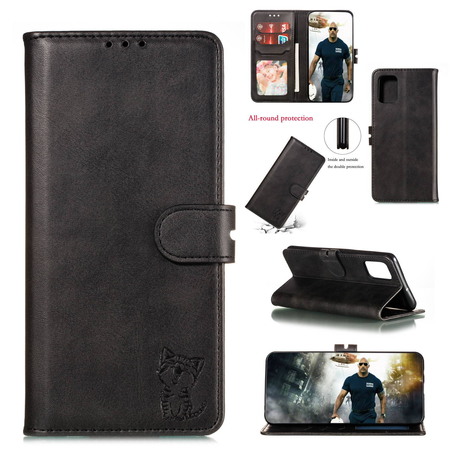 For HUAWEI P40 Pro Mobile Phone Cover PU Leather Front Buckle Smart Shell Anti-fall Phone Case 1 black