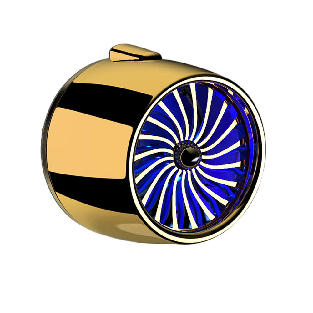 LED Scent Vent Decoration Clip On Alloy Diffuser Car Perfume Freshener Golden blue