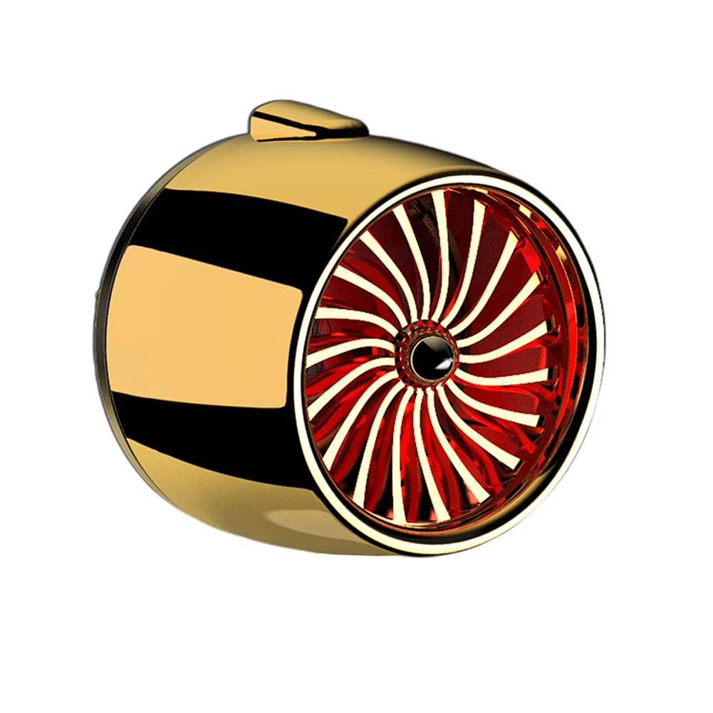 LED Scent Vent Decoration Clip On Alloy Diffuser Car Perfume Freshener Golden red