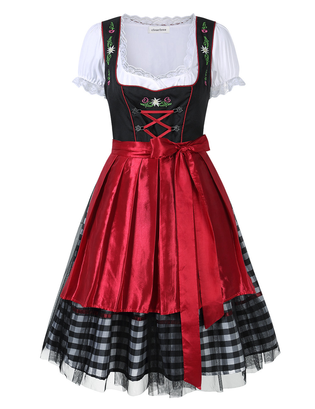 Clearlove Women's Oktoberfest Dresses Plaid Mesh Stitching Embroidery Formal Dresses Suit