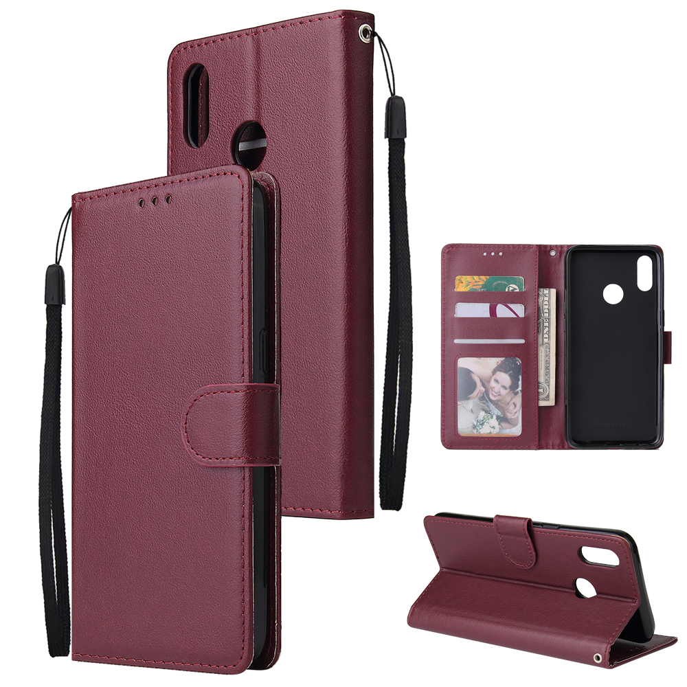 For OPPO Realme 3 Wallet-type PU Leather Protective Phone Case with Buckle & 3 Card Position Red wine