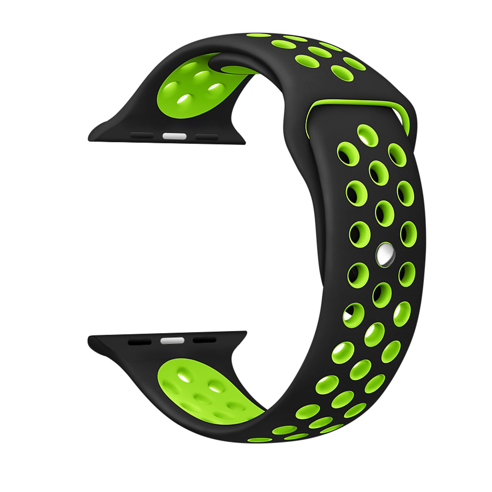 [US Direct] Apple Watch Band 38mm,Soft Silicone Quick Release Replacement Strap for Apple iWatch Series 1 Series 2 Black and Green