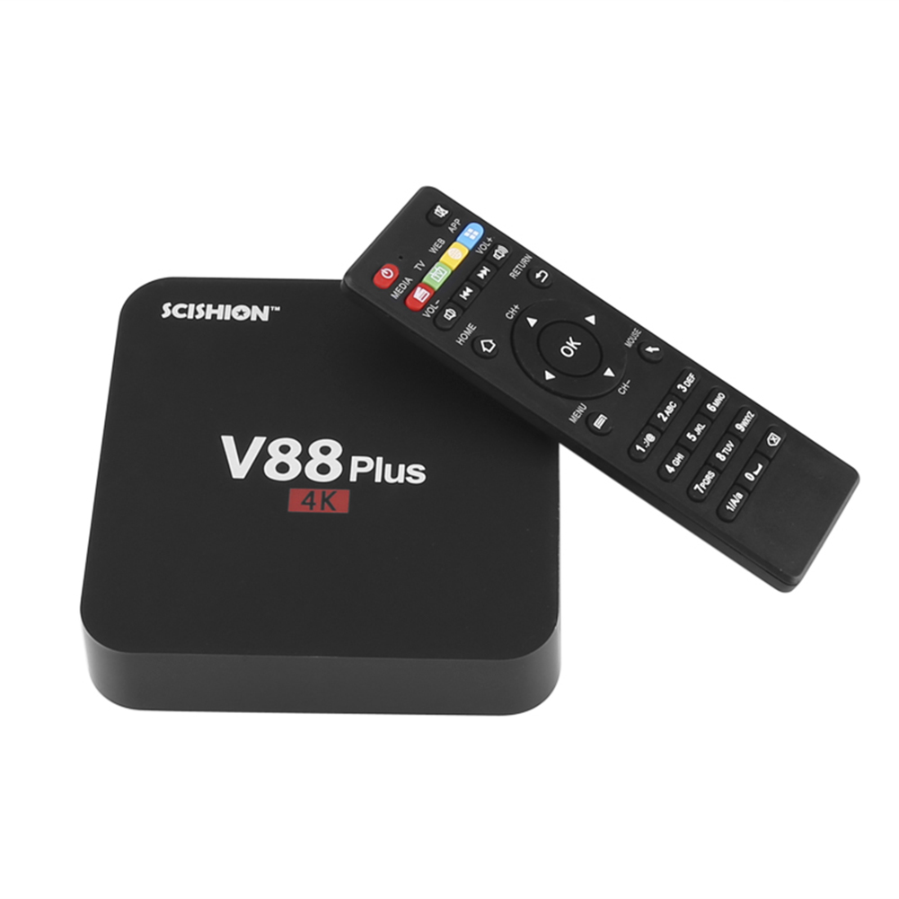 [US Direct] V88 Plus TV Box - 4K Resolution, 3D Movie Support, Android OS, Google Play, Quad-Core CPU, 2GB RAM, KODI TV with American Plug