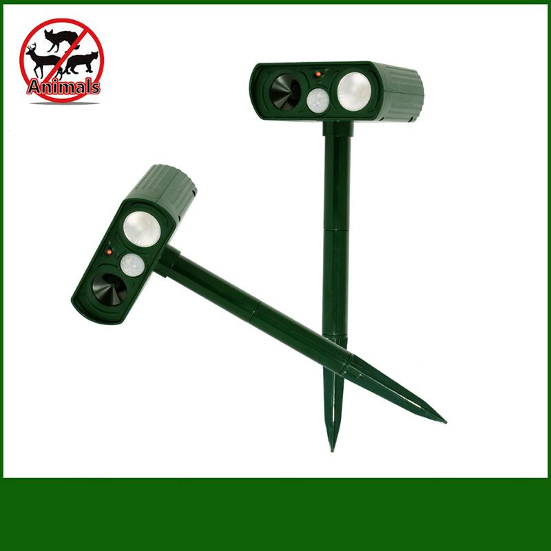 Ultrasonic Repellent Outdoor Solar Powered and Waterproof Animal Repeller Deterrent Scarer Pest Control Grass green_LED strobe upgrade
