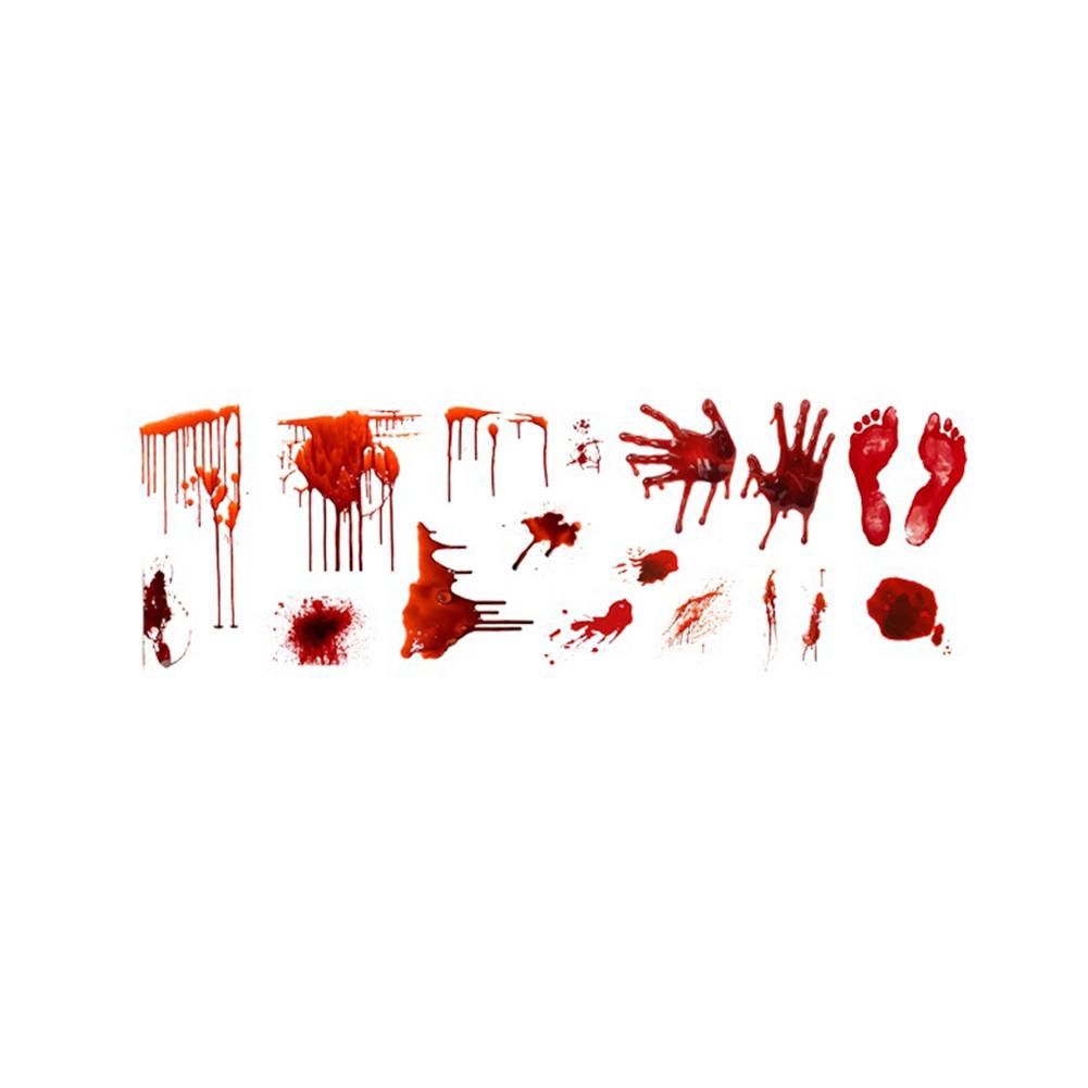 Horror Blooding Handprint Foot 3D Wall Stciker for Halloween Floor Door Decor 91cm x 31cm