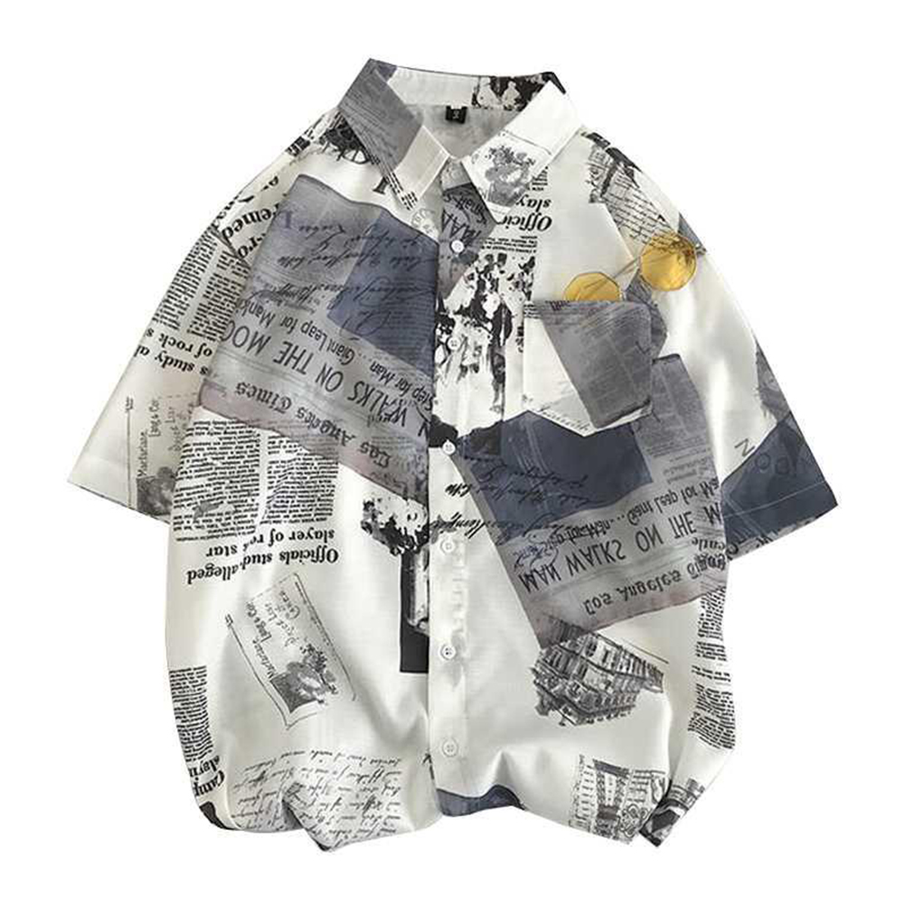 Men's Leisure Shirt Loose Summer Stand-up Collar Printing Short-sleeve Shirts White_M (165 height/50 kg)