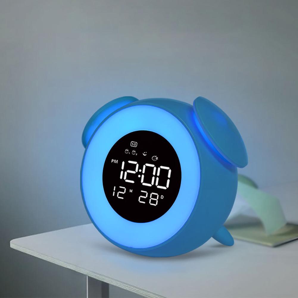 Music LED Alarm Clock Children Alarm Clock Night Light Sleep Sounds Machine Children Cartoon Bedside Lamp blue