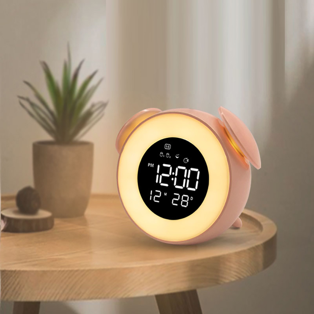Music LED Alarm Clock Children Alarm Clock Night Light Sleep Sounds Machine Children Cartoon Bedside Lamp Pink
