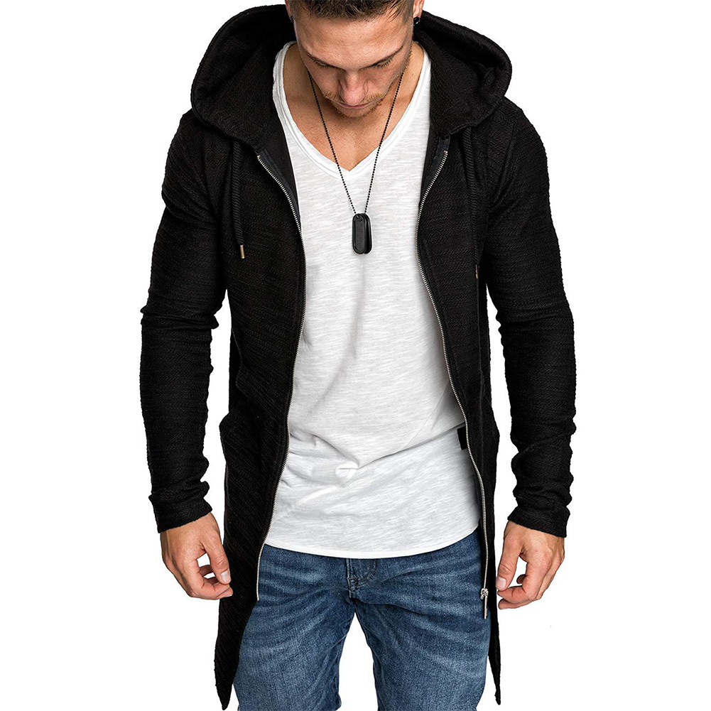 Men Fashion Slim Medium Long Dovetail Wind Coat Zipper Sweatshirts Cardigan black_M