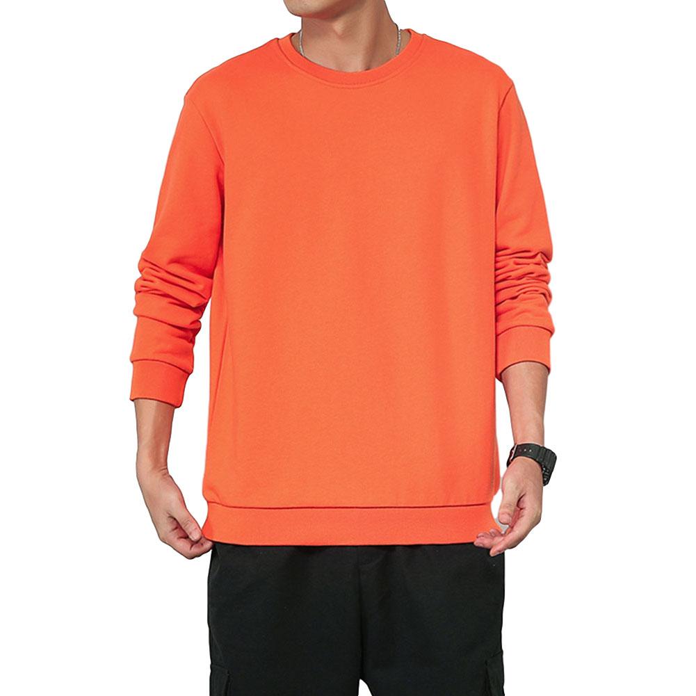 Men Spring Autumn Sweatshirts Casual Fashion Round Collar Coat Orange_XL