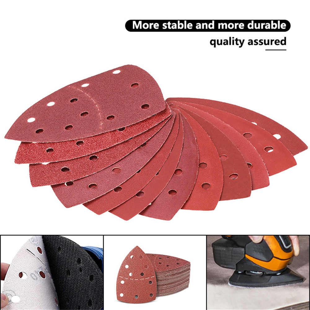 40 Pcs Abrasive Triangle Sanding  Sheets For Bosch Psm 100a Detail Palm Sander Mixed Grit For Quick Removal Roughing Red triangle 11 holes 152*105 palm type separation shaped sandpaper 40 pcs set