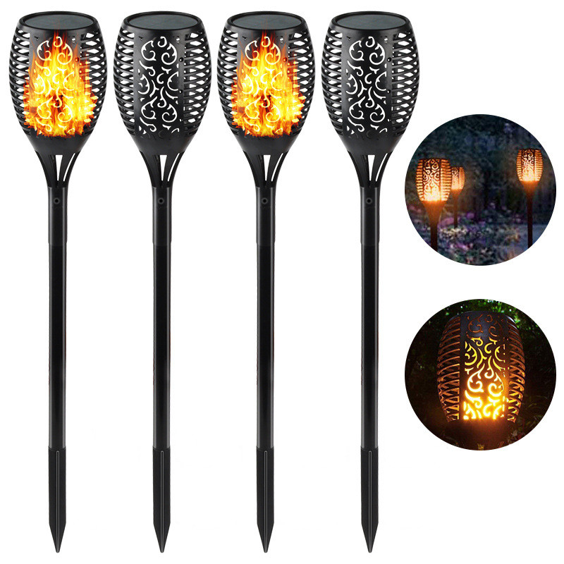 33LEDs Solar Powered Flame Solar Light Waterproof Garden Outdoor Landscape Decoration Lawn Lamp 4pcs